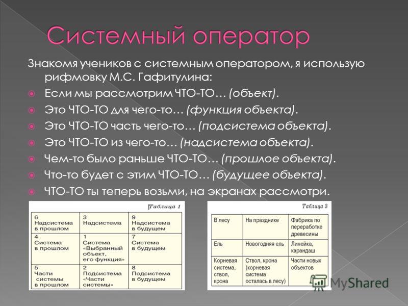 Знакомя учеников с системным оператором, я использую рифмовку М.С. Гафитулина: Если мы рассмотрим ЧТО-ТО… (объект). Это ЧТО-ТО для чего-то… (функция объекта). Это ЧТО-ТО часть чего-то… (подсистема объекта). Это ЧТО-ТО из чего-то… (надсистема объекта)