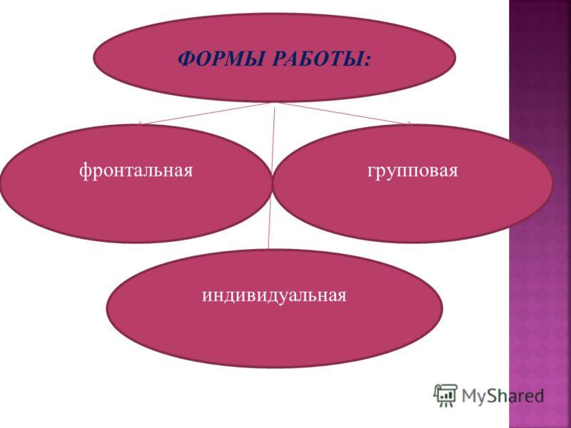 ФОРМЫ РАБОТЫ: фронтальнаягрупповая индивидуальная