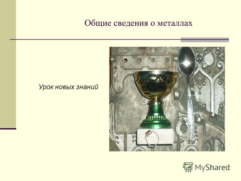 Общие сведения о металлах Урок новых знаний