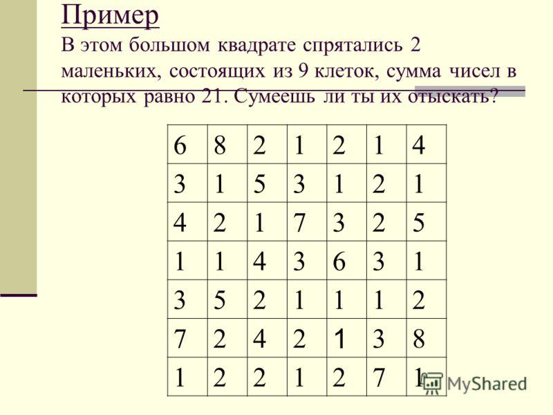 Пример В этом большом квадрате спрятались 2 маленьких, состоящих из 9 клеток, сумма чисел в которых равно 21. Сумеешь ли ты их отыскать? 6821214 3153121 4217325 1143631 3521112 7242 1 38 1221271