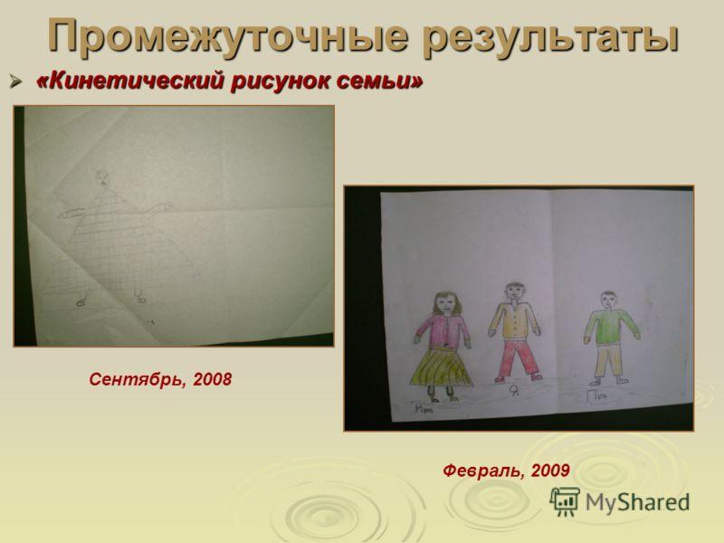 Промежуточные результаты «Кинетический рисунок семьи» «Кинетический рисунок семьи» Сентябрь, 2008 Февраль, 2009
