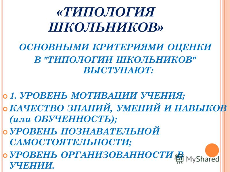 «ТИПОЛОГИЯ ШКОЛЬНИКОВ» ОСНОВНЫМИ КРИТЕРИЯМИ ОЦЕНКИ В ТИПОЛОГИИ ШКОЛЬНИКОВ ВЫСТУПАЮТ: 1. УРОВЕНЬ МОТИВАЦИИ УЧЕНИЯ; КАЧЕСТВО ЗНАНИЙ, УМЕНИЙ И НАВЫКОВ (или ОБУЧЕННОСТЬ); УРОВЕНЬ ПОЗНАВАТЕЛЬНОЙ САМОСТОЯТЕЛЬНОСТИ; УРОВЕНЬ ОРГАНИЗОВАННОСТИ В УЧЕНИИ.