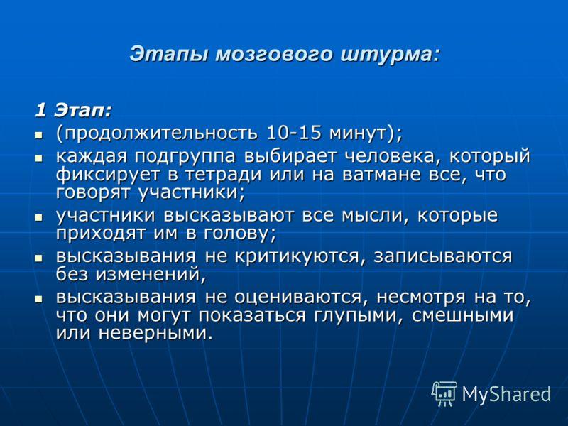 Этапы мозгового штурма: 1 Этап: (продолжительность 10-15 минут); (продолжительность 10-15 минут); каждая подгруппа выбирает человека, который фиксирует в тетради или на ватмане все, что говорят участники; каждая подгруппа выбирает человека, который ф