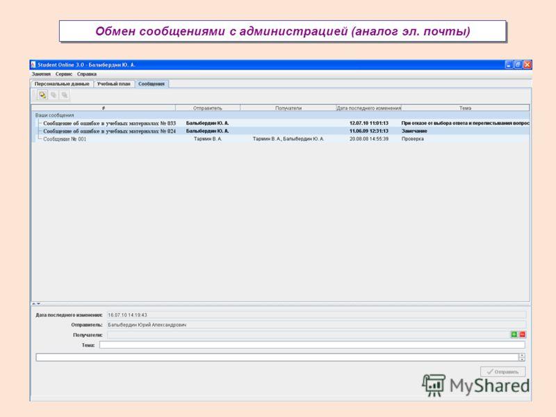 Обмен сообщениями с администрацией (аналог эл. почты)