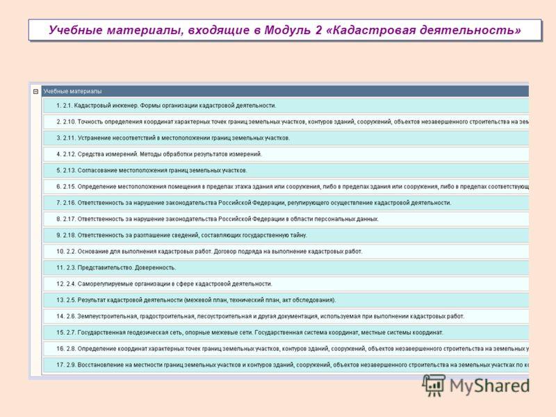 Учебные материалы, входящие в Модуль 2 «Кадастровая деятельность»