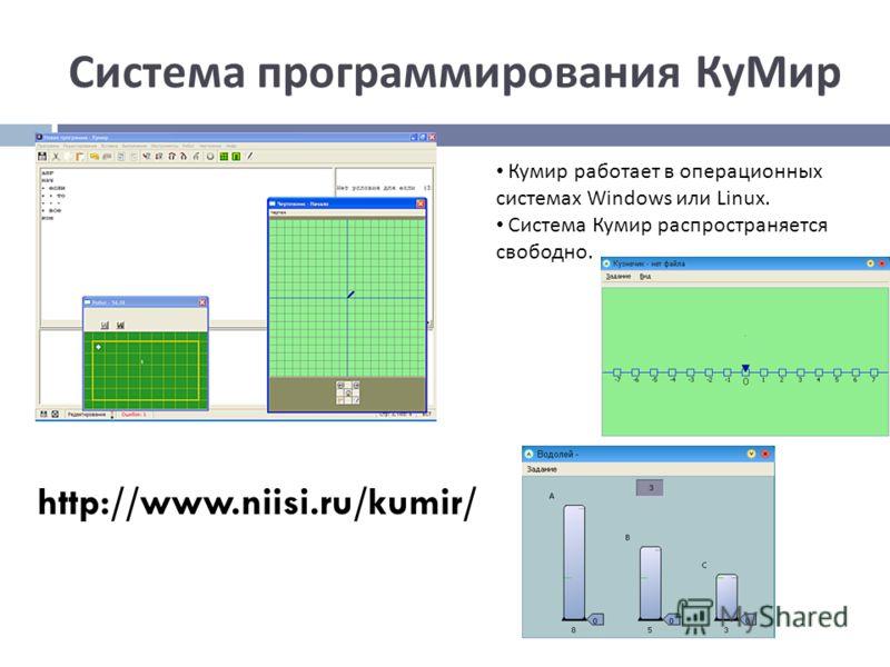 Система программирования КуМир Кумир работает в операционных системах Windows или Linux. Система Кумир распространяется свободно. http://www.niisi.ru/kumir/