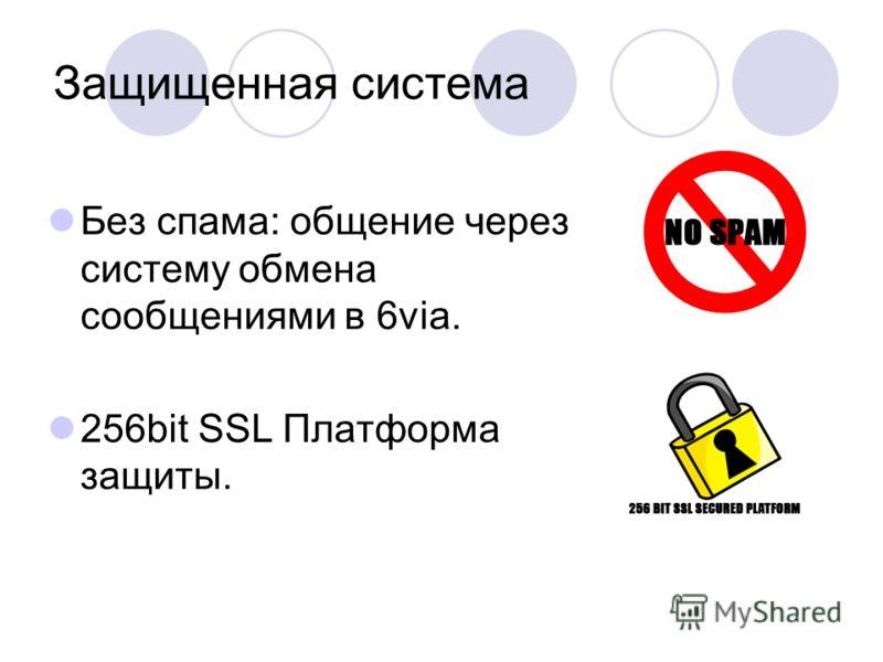 Защищенная система Без спама: общение через систему обмена сообщениями в 6via. 256bit SSL Платформа защиты.