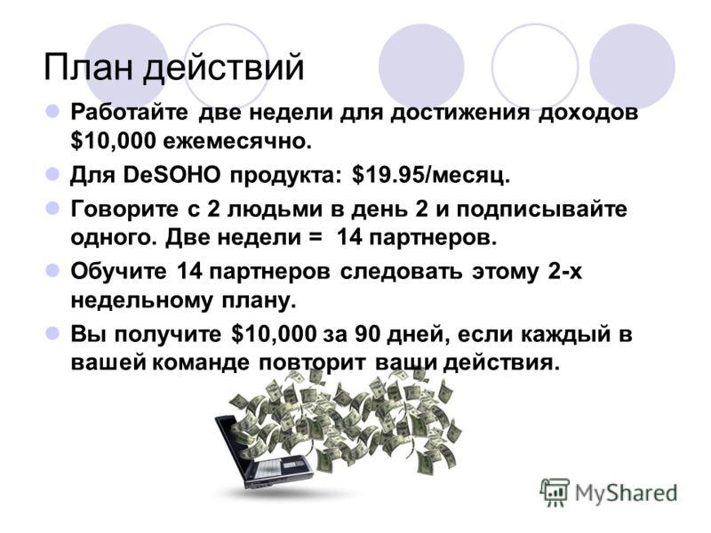 План действий Работайте две недели для достижения доходов $10,000 ежемесячно. Для DeSOHO продукта: $19.95/месяц. Говорите с 2 людьми в день 2 и подписывайте одного. Две недели = 14 партнеров. Обучите 14 партнеров следовать этому 2-х недельному плану.