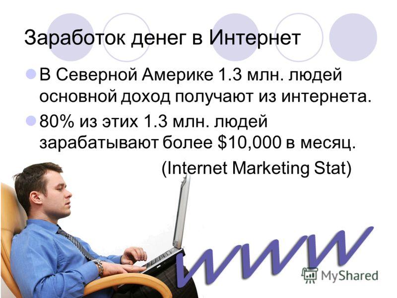 Заработок денег в Интернет В Северной Америке 1.3 млн. людей основной доход получают из интернета. 80% из этих 1.3 млн. людей зарабатывают более $10,000 в месяц. (Internet Marketing Stat)