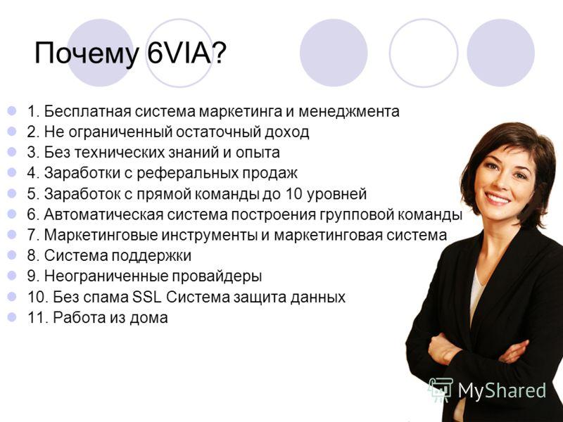 Почему 6VIA? 1. Бесплатная система маркетинга и менеджмента 2. Не ограниченный остаточный доход 3. Без технических знаний и опыта 4. Заработки с реферальных продаж 5. Заработок с прямой команды до 10 уровней 6. Автоматическая система построения групп