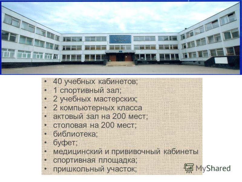 40 учебных кабинетов; 1 спортивный зал; 2 учебных мастерских; 2 компьютерных класса актовый зал на 200 мест; столовая на 200 мест; библиотека; буфет; медицинский и прививочный кабинеты спортивная площадка; пришкольный участок;