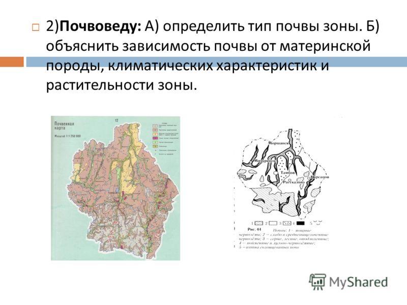 2) Почвоведу : А ) определить тип почвы зоны. Б ) объяснить зависимость почвы от материнской породы, климатических характеристик и растительности зоны.