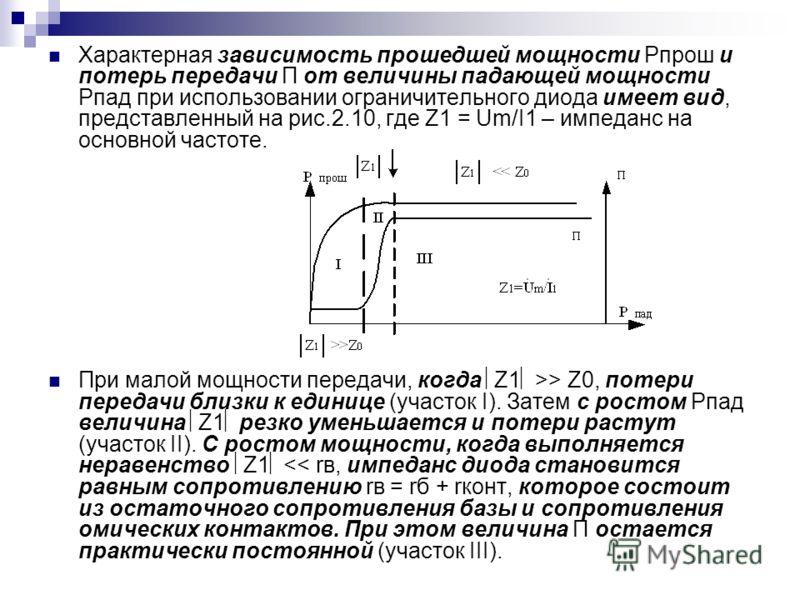 Характерная зависимость прошедшей мощности Рпрош и потерь передачи П от величины падающей мощности Рпад при использовании ограничительного диода имеет вид, представленный на рис.2.10, где Z1 = Um/I1 – импеданс на основной частоте. При малой мощности
