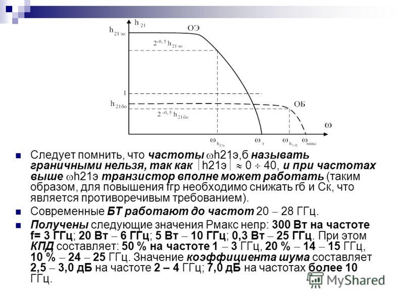Следует помнить, что частоты h21э,б называть граничными нельзя, так как h21э 0 40, и при частотах выше h21э транзистор вполне может работать (таким образом, для повышения fгр необходимо снижать rб и Ск, что является противоречивым требованием). Совре