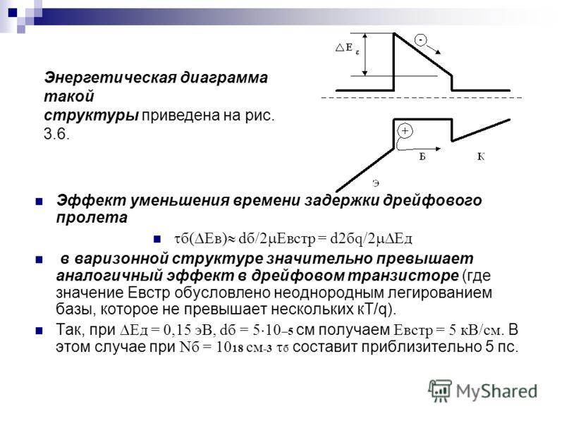 Эффект уменьшения времени задержки дрейфового пролета б( Ев) dб/2 Евстр = d2бq/2 Ед в варизонной структуре значительно превышает аналогичный эффект в дрейфовом транзисторе (где значение Евстр обусловлено неоднородным легированием базы, которое не пре