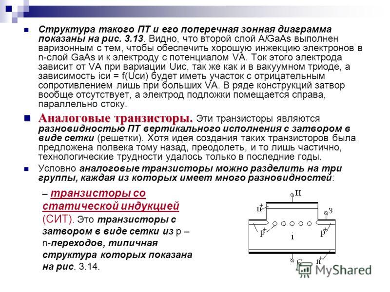 Структура такого ПТ и его поперечная зонная диаграмма показаны на рис. 3.13. Видно, что второй слой AlGaAs выполнен варизонным с тем, чтобы обеспечить хорошую инжекцию электронов в n-слой GaAs и к электроду с потенциалом VA. Ток этого электрода завис