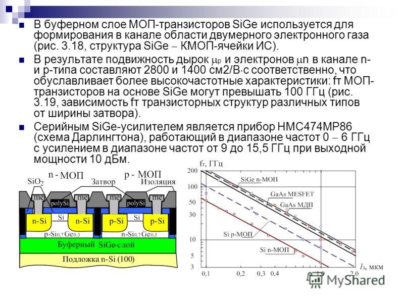 В буферном слое МОП-транзисторов SiGe используется для формирования в канале области двумерного электронного газа (рис. 3.18, структура SiGe КМОП-ячейки ИС). В результате подвижность дырок р и электронов n в канале n- и р-типа составляют 2800 и 1400
