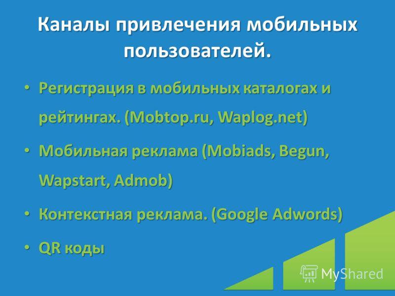 Каналы привлечения мобильных пользователей. Регистрация в мобильных каталогах и рейтингах. (Mobtop.ru, Waplog.net) Регистрация в мобильных каталогах и рейтингах. (Mobtop.ru, Waplog.net) Мобильная реклама (Mobiads, Begun, Wapstart, Admob) Мобильная ре