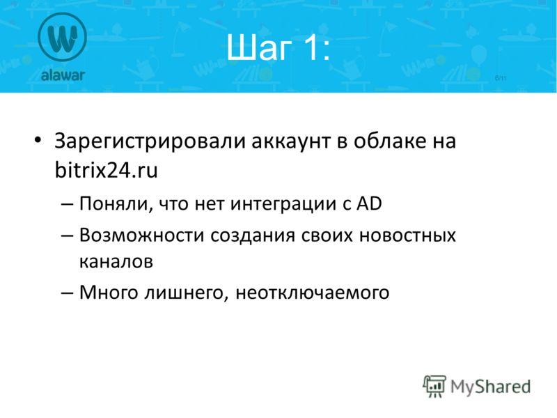 6/ 11 Шаг 1: Зарегистрировали аккаунт в облаке на bitrix24.ru – Поняли, что нет интеграции с AD – Возможности создания своих новостных каналов – Много лишнего, неотключаемого