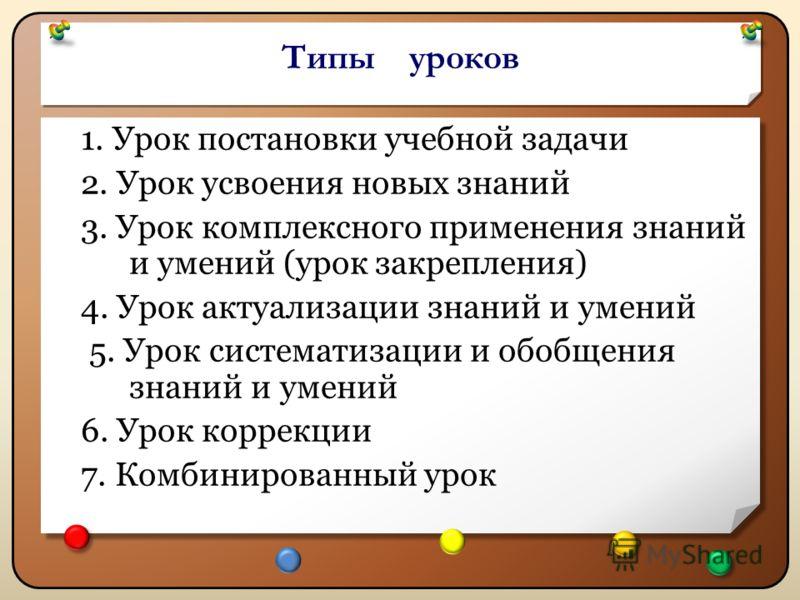 Типы уроков 1. Урок постановки учебной задачи 2. Урок усвоения новых знаний 3. Урок комплексного применения знаний и умений (урок закрепления) 4. Урок актуализации знаний и умений 5. Урок систематизации и обобщения знаний и умений 6. Урок коррекции 7
