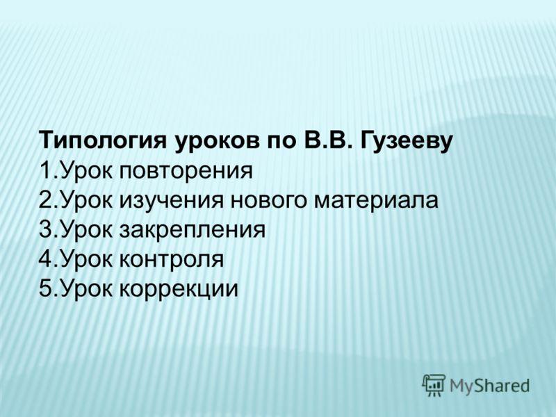 Типология уроков по В.В. Гузееву 1.Урок повторения 2.Урок изучения нового материала 3.Урок закрепления 4.Урок контроля 5.Урок коррекции