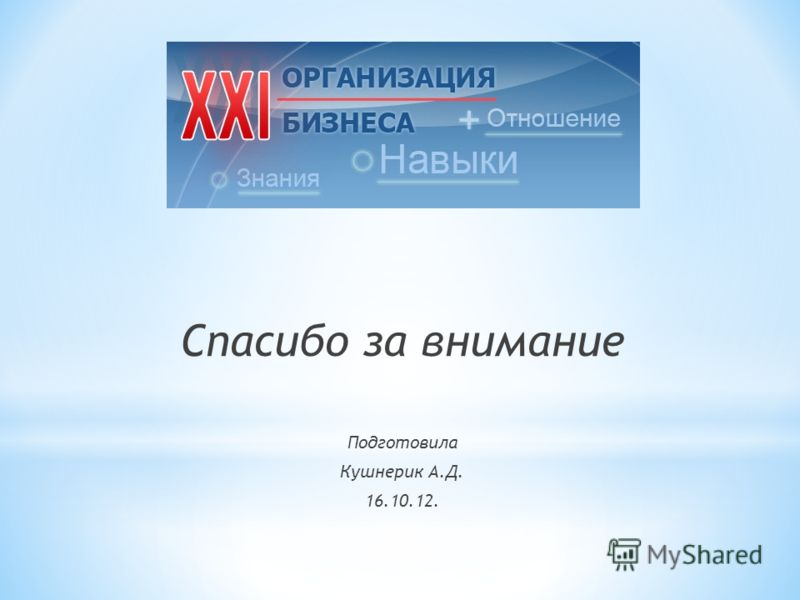 Спасибо за внимание Подготовила Кушнерик А.Д. 16.10.12.