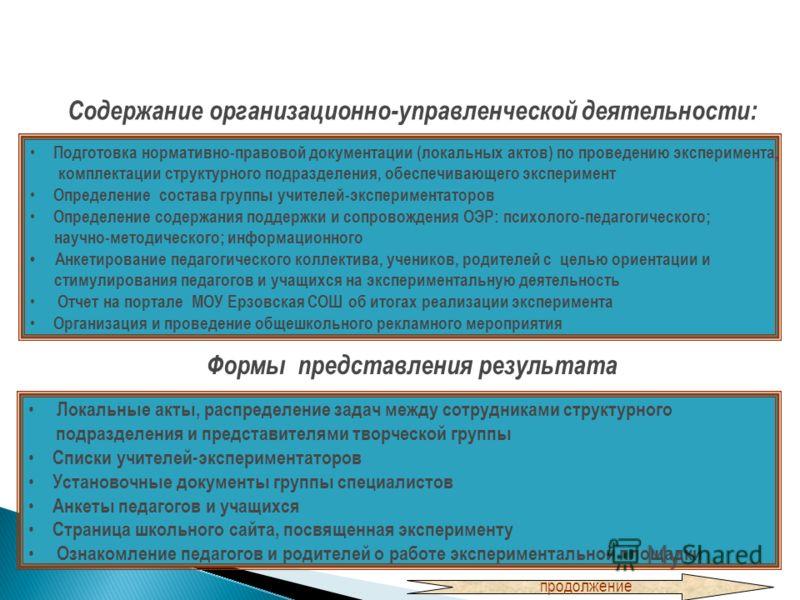 Содержание организационно-управленческой деятельности: Подготовка нормативно-правовой документации (локальных актов) по проведению эксперимента, комплектации структурного подразделения, обеспечивающего эксперимент Определение состава группы учителей-