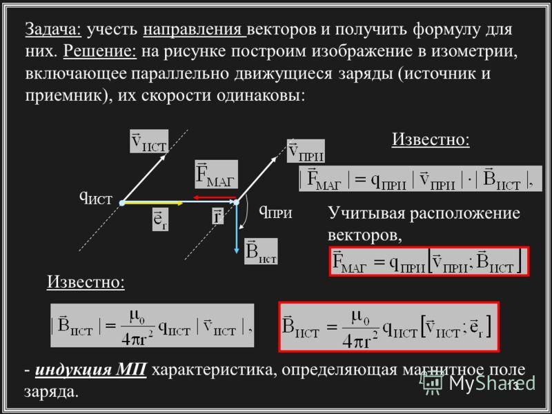 13 Задача: учесть направления векторов и получить формулу для них. Решение: на рисунке построим изображение в изометрии, включающее параллельно движущиеся заряды (источник и приемник), их скорости одинаковы: Учитывая расположение векторов, q ИСТ q ПР