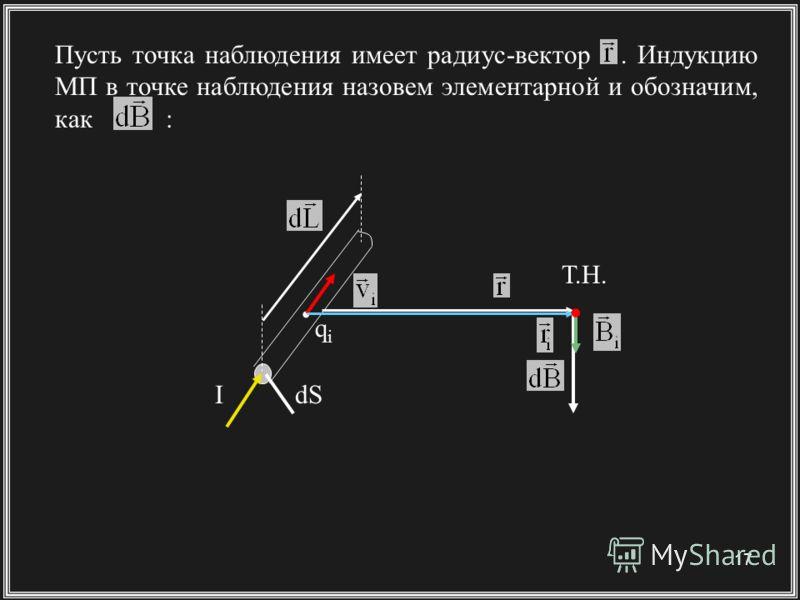 17 Пусть точка наблюдения имеет радиус-вектор. Индукцию МП в точке наблюдения назовем элементарной и обозначим, как : IdS Т.Н. qiqi