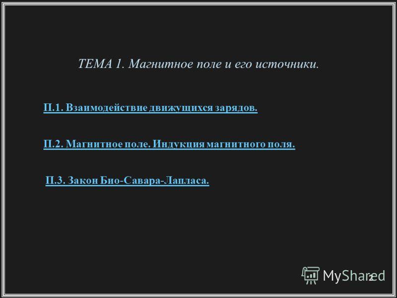 2 ТЕМА 1. Магнитное поле и его источники. П.1. Взаимодействие движущихся зарядов. П.2. Магнитное поле. Индукция магнитного поля. П.3. Закон Био-Савара-Лапласа.