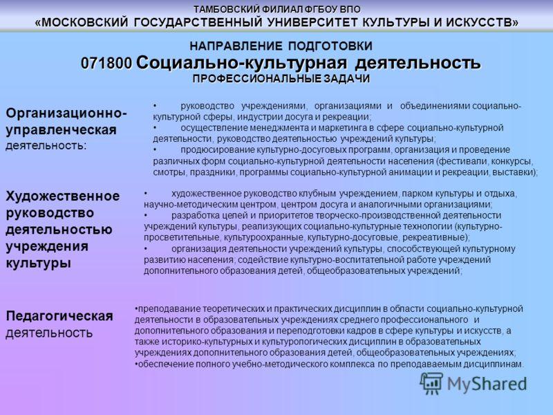 ТАМБОВСКИЙ ФИЛИАЛ ФГБОУ ВПО «МОСКОВСКИЙ ГОСУДАРСТВЕННЫЙ УНИВЕРСИТЕТ КУЛЬТУРЫ И ИСКУССТВ» НАПРАВЛЕНИЕ ПОДГОТОВКИ 071800 Социально-культурная деятельность ПРОФЕССИОНАЛЬНЫЕ ЗАДАЧИ Организационно- управленческая деятельность: руководство учреждениями, ор