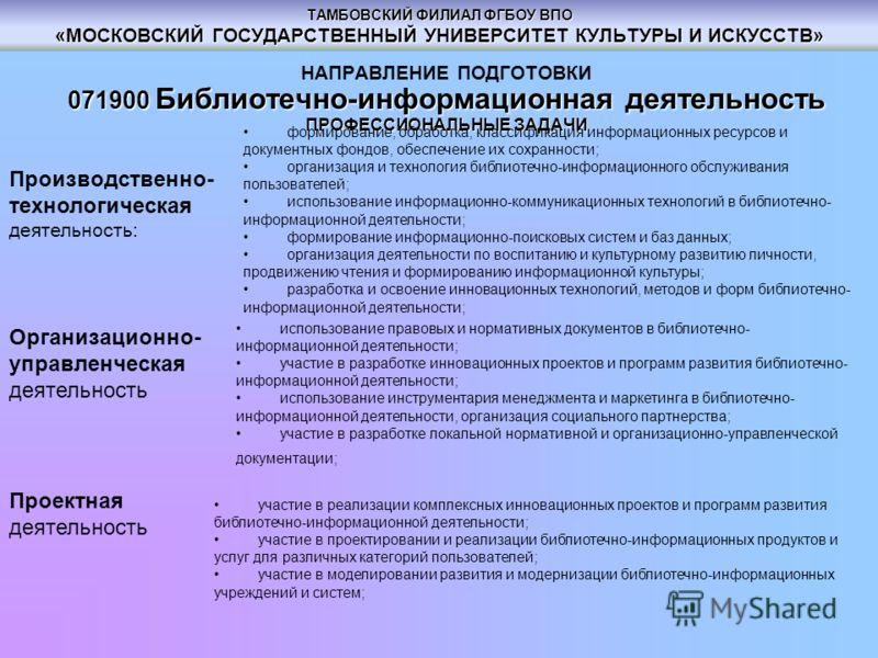ТАМБОВСКИЙ ФИЛИАЛ ФГБОУ ВПО «МОСКОВСКИЙ ГОСУДАРСТВЕННЫЙ УНИВЕРСИТЕТ КУЛЬТУРЫ И ИСКУССТВ» НАПРАВЛЕНИЕ ПОДГОТОВКИ 071900 Библиотечно-информационная деятельность ПРОФЕССИОНАЛЬНЫЕ ЗАДАЧИ Производственно- технологическая деятельность: формирование, обрабо