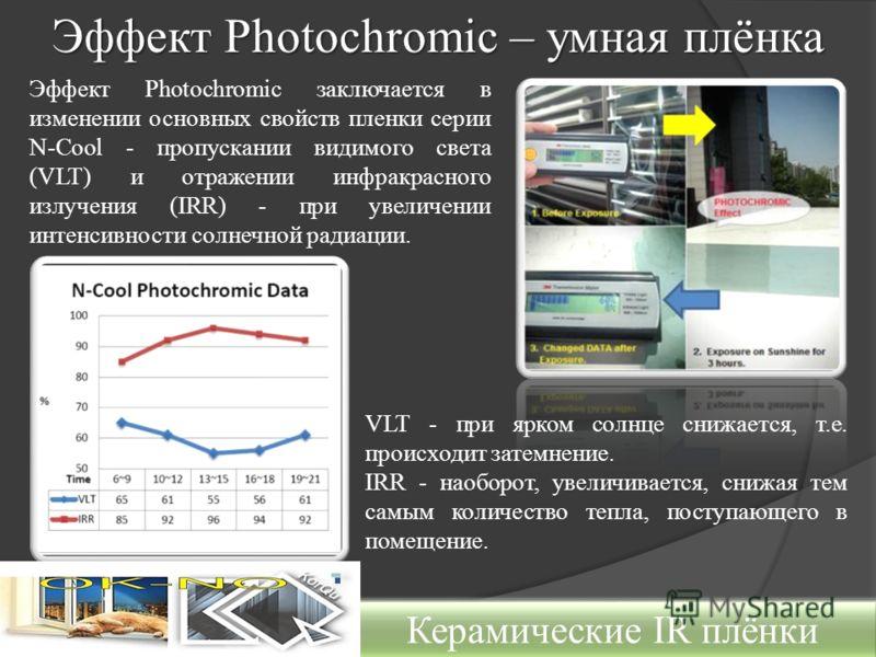 Эффект Photochromic – умная плёнка Керамические IR плёнки Эффект Photochromic заключается в изменении основных свойств пленки серии N-Cool - пропускании видимого света (VLT) и отражении инфракрасного излучения (IRR) - при увеличении интенсивности сол