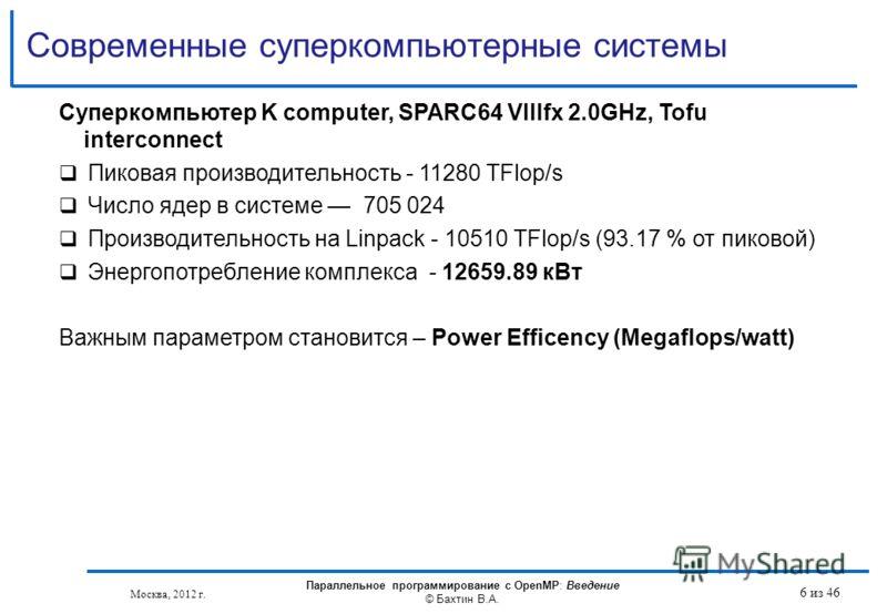 Современные суперкомпьютерные системы Москва, 2012 г. Параллельное программирование с OpenMP: Введение © Бахтин В.А. 6 из 46 Суперкомпьютер K computer, SPARC64 VIIIfx 2.0GHz, Tofu interconnect Пиковая производительность - 11280 TFlop/s Число ядер в с