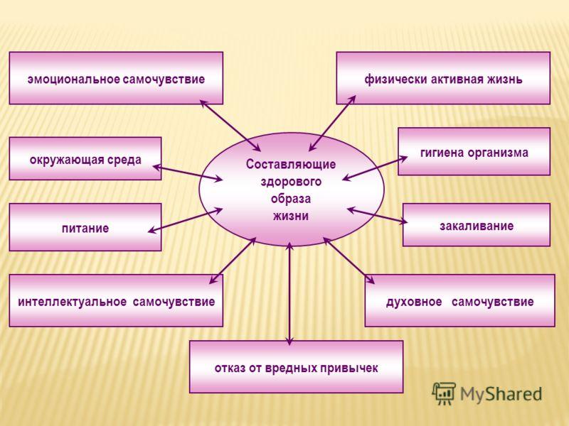 Составляющие здорового образа жизни окружающая среда отказ от вредных привычек питание физически активная жизнь гигиена организма закаливание эмоциональное самочувствие интеллектуальное самочувствиедуховное самочувствие