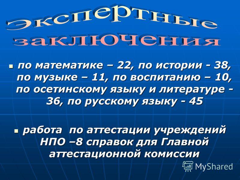 по математике – 22, по истории - 38, по музыке – 11, по воспитанию – 10, по осетинскому языку и литературе - 36, по русскому языку - 45 по математике – 22, по истории - 38, по музыке – 11, по воспитанию – 10, по осетинскому языку и литературе - 36, п