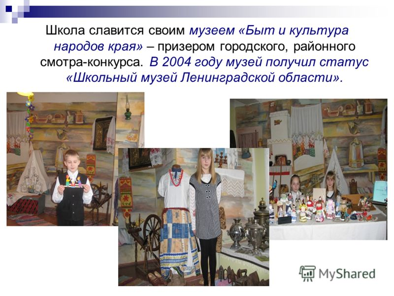 Школа славится своим музеем «Быт и культура народов края» – призером городского, районного смотра-конкурса. В 2004 году музей получил статус «Школьный музей Ленинградской области».