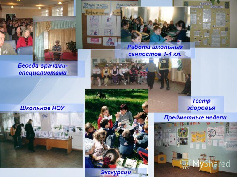 Школьное НОУ Беседа врачами- специалистами Театр здоровья Предметные недели Экскурсии Работа школьных санпостов 1-4 кл.