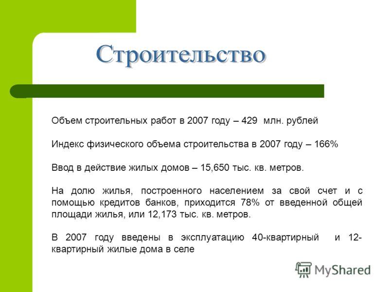 Объем строительных работ в 2007 году – 429 млн. рублей Индекс физического объема строительства в 2007 году – 166% Ввод в действие жилых домов – 15,650 тыс. кв. метров. На долю жилья, построенного населением за свой счет и с помощью кредитов банков, п