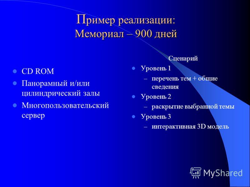 П ример реализации: Мемориал – 900 дней CD ROM Панорамный и/или цилиндрический залы Многопользовательский сервер Сценарий Уровень 1 – перечень тем + общие сведения Уровень 2 – раскрытие выбранной темы Уровень 3 – интерактивная 3D модель