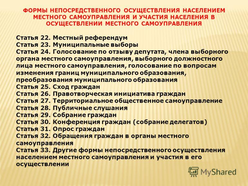 ФОРМЫ НЕПОСРЕДСТВЕННОГО ОСУЩЕСТВЛЕНИЯ НАСЕЛЕНИЕМ МЕСТНОГО САМОУПРАВЛЕНИЯ И УЧАСТИЯ НАСЕЛЕНИЯ В ОСУЩЕСТВЛЕНИИ МЕСТНОГО САМОУПРАВЛЕНИЯ Статья 22. Местный референдум Статья 23. Муниципальные выборы Статья 24. Голосование по отзыву депутата, члена выборн