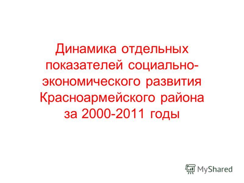 Динамика отдельных показателей социально- экономического развития Красноармейского района за 2000-2011 годы