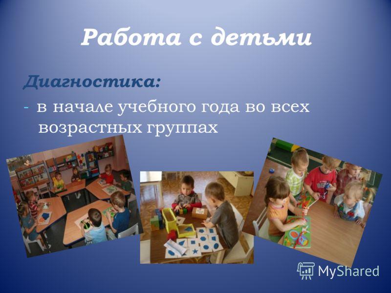 Работа с детьми Диагностика: - в начале учебного года во всех возрастных группах