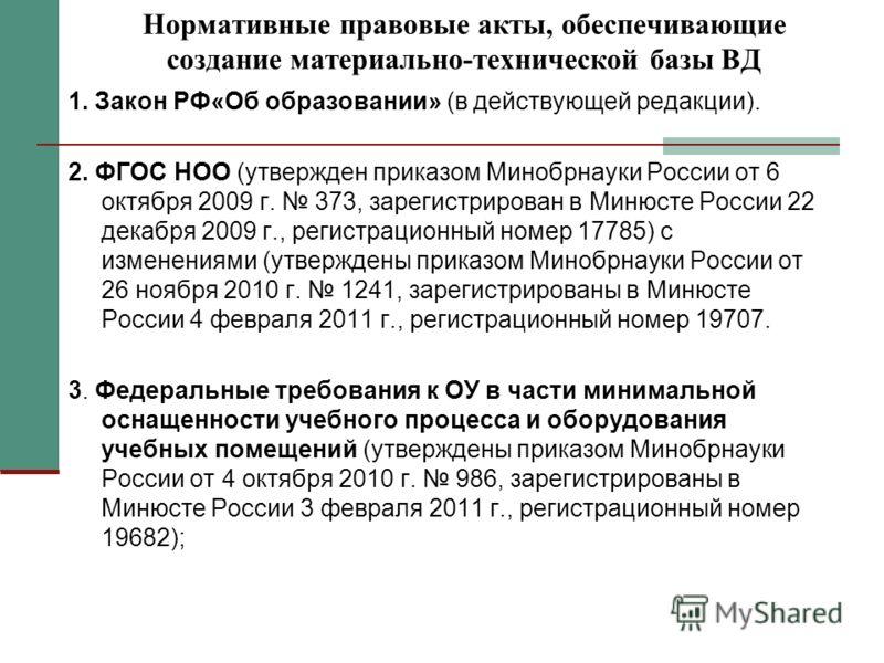 Нормативные правовые акты, обеспечивающие создание материально-технической базы ВД 1. Закон РФ«Об образовании» (в действующей редакции). 2. ФГОС НОО (утвержден приказом Минобрнауки России от 6 октября 2009 г. 373, зарегистрирован в Минюсте России 22