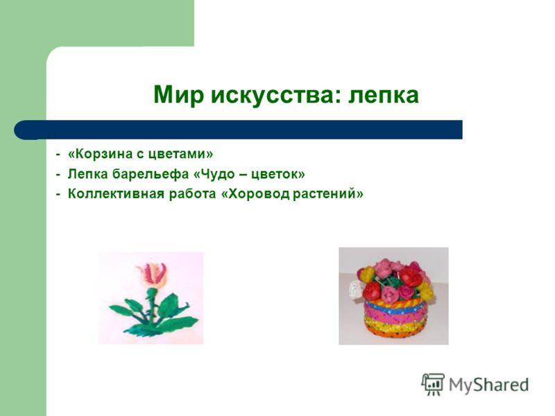 Мир искусства: лепка - «Корзина с цветами» - Лепка барельефа «Чудо – цветок» - Коллективная работа «Хоровод растений»