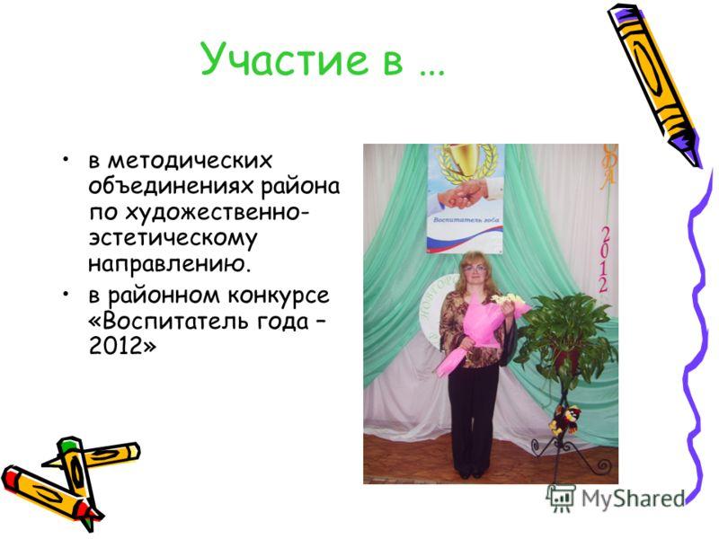 Участие в … в методических объединениях района по художественно- эстетическому направлению. в районном конкурсе «Воспитатель года – 2012»