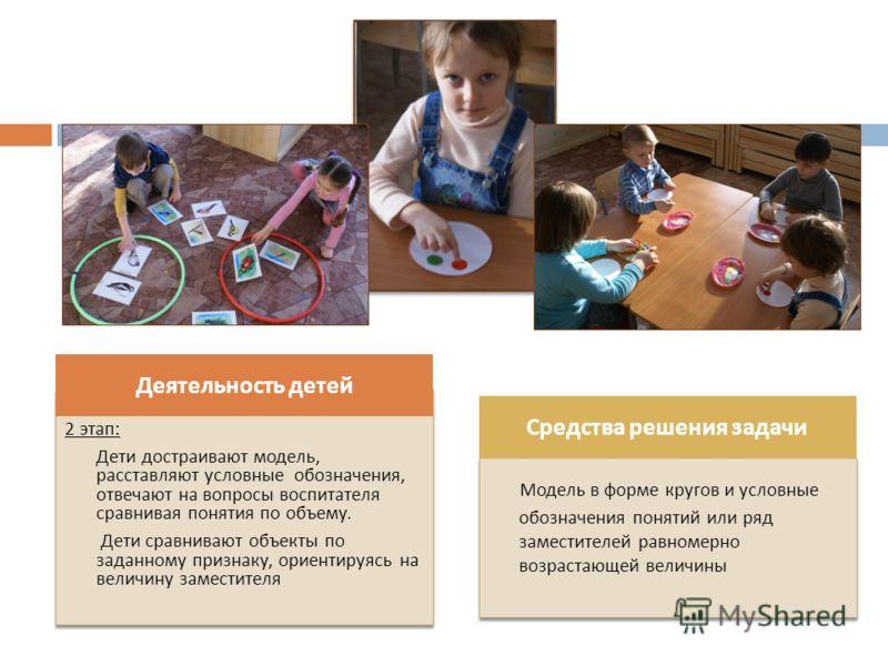 2 этап : Дети достраивают модель, расставляют условные обозначения, отвечают на вопросы воспитателя сравнивая понятия по объему. Дети сравнивают объекты по заданному признаку, ориентируясь на величину заместителя 2 этап : Дети достраивают модель, рас