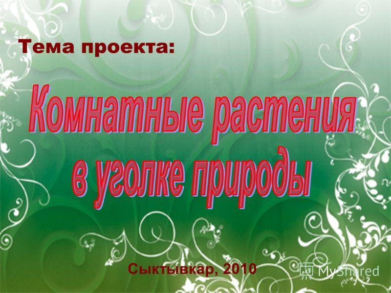 Тема проекта: Сыктывкар, 2010