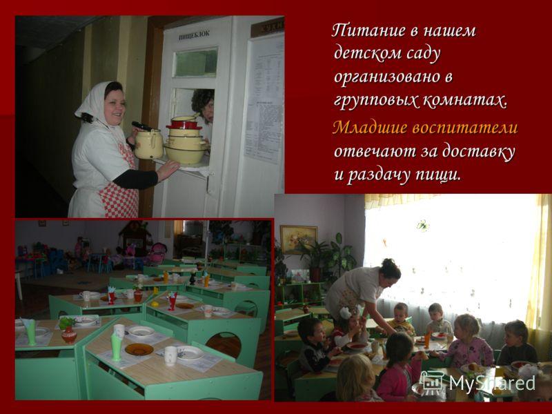 Питание в нашем детском саду организовано в групповых комнатах. Питание в нашем детском саду организовано в групповых комнатах. Младшие воспитатели отвечают за доставку и раздачу пищи. Младшие воспитатели отвечают за доставку и раздачу пищи.