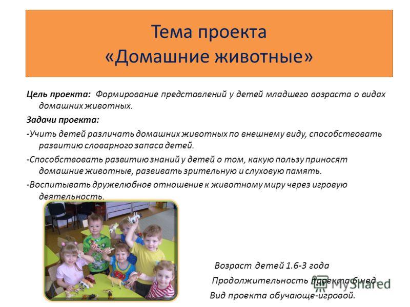 Тема проекта «Домашние животные» Цель проекта: Формирование представлений у детей младшего возраста о видах домашних животных. Задачи проекта: -Учить детей различать домашних животных по внешнему виду, способствовать развитию словарного запаса детей.